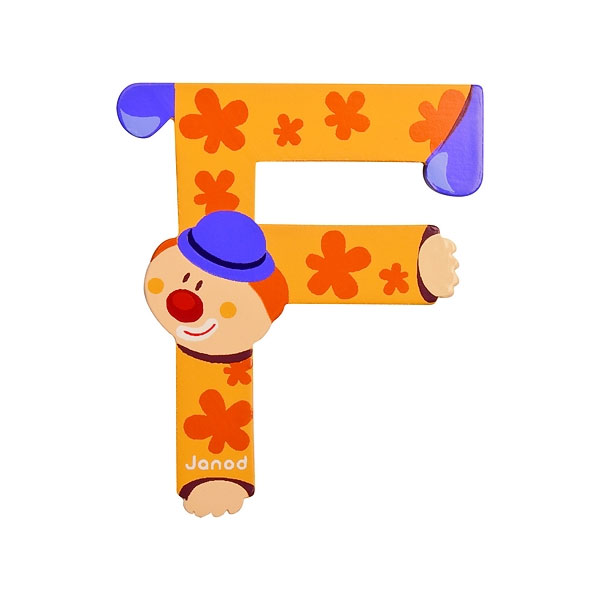 Janod wooden letter f clown design jack and jill kidswear - Jouet alphabet ...