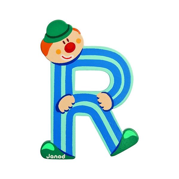 janod wooden letter r clown design jack and jill kidswear