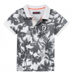 Pre-Order Catimini SS16 MB Urban Global Mix Ecru Tropial Print Polo Shirt