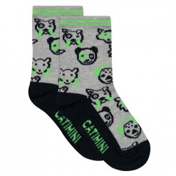 Pre-Order Catimini SS16 MB Urban Light Grey Animal Heads Socks
