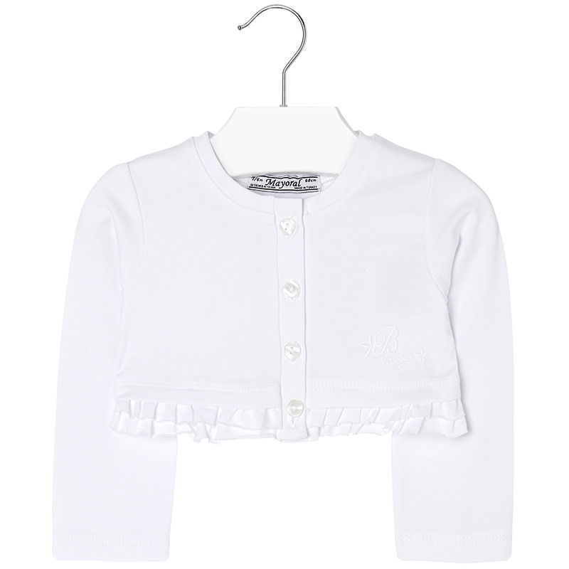 Mayoral Ss16 Toddler Girls White Cropped Cardigan Jack And Jill