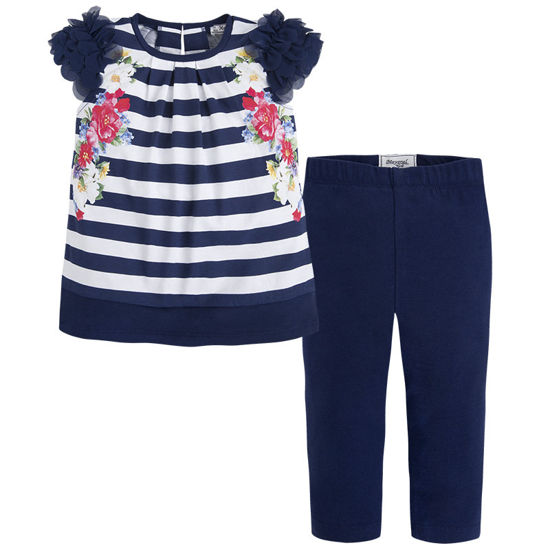 4caa9d73f Mayoral SS16 Mini Girls Navy Blue Striped Tunic & Leggings Set ...