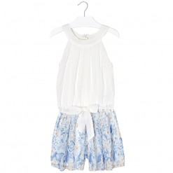 Mayoral SS16 Older Girls White & Light Blue Playsuit