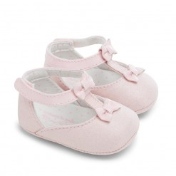 Mayoral SS16 Newborn Girls Rose Pink Suede Mary Jane Shoes