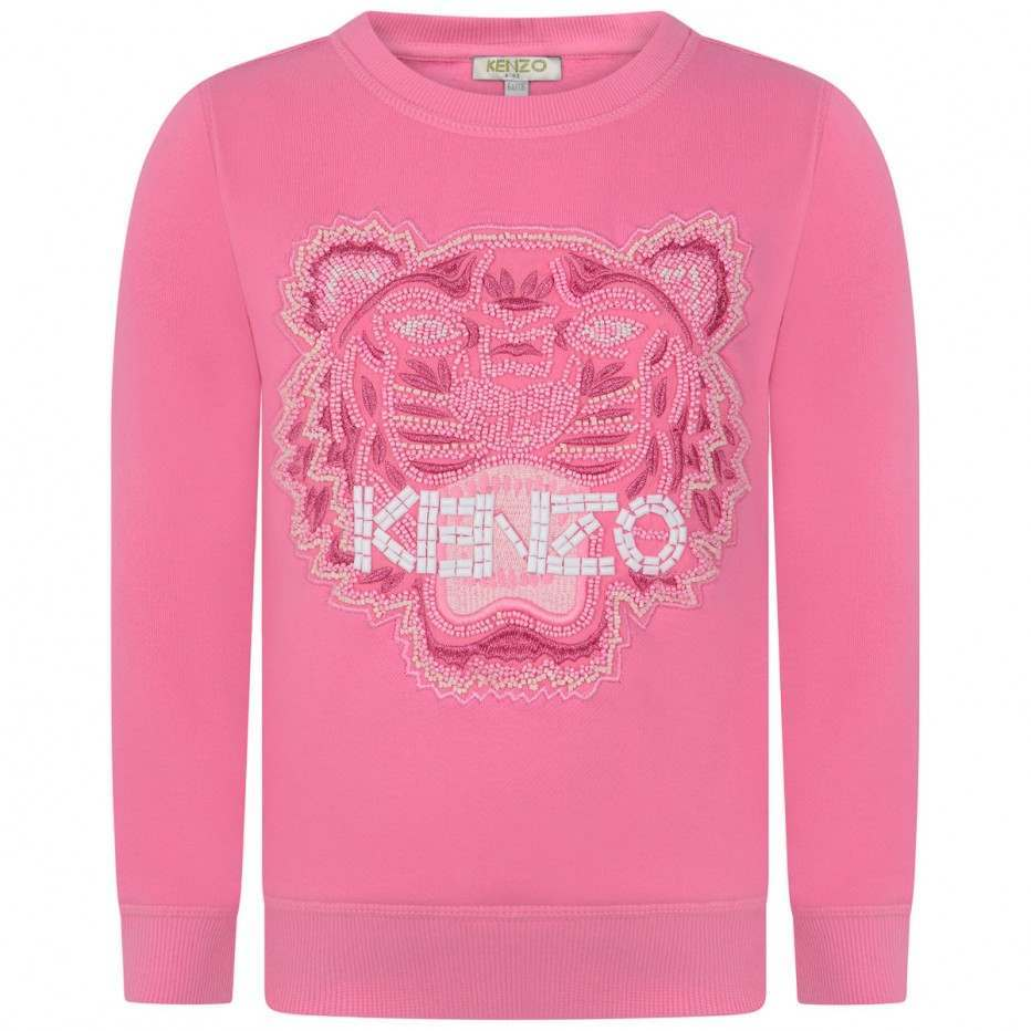 15ebfb89b1d1 Kenzo Iconic KG Tiger Pink Beaded Sweatshirt - Jack and Jill Kidswear